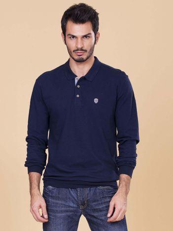 Granatowa koszulka polo męska z długim rękawem