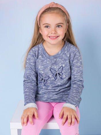 Granatowa melanżowa bluza dziewczęca z motylkami i cekinami