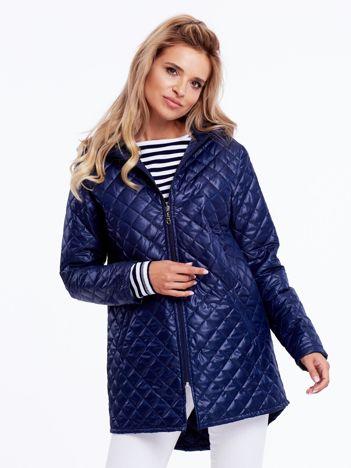 Granatowa pikowana kurtka damska z kapturem