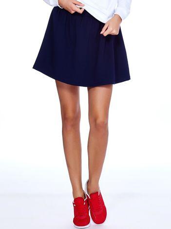 Granatowa rozkloszowana dresowa spódnica