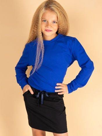 Granatowa spódnica dla dziewczynki ze wstążką