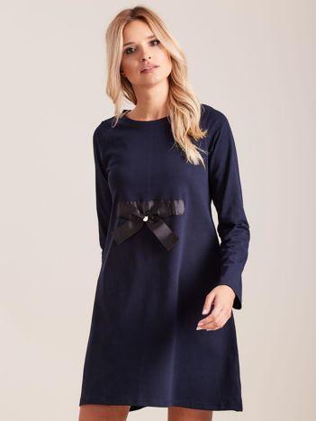 Granatowa sukienka bawełniana z kokardą