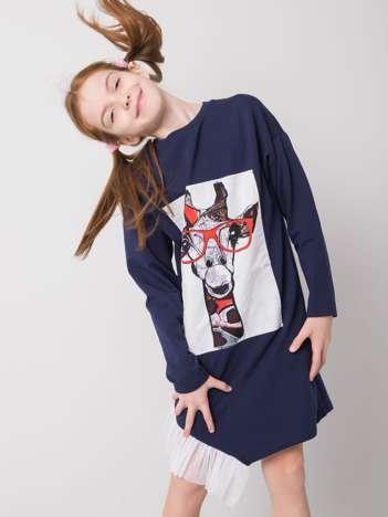 Granatowa sukienka dla dziewczynki z bawełny