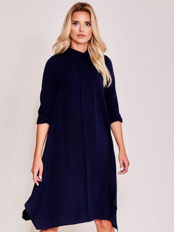 Granatowa sukienka koszulowa