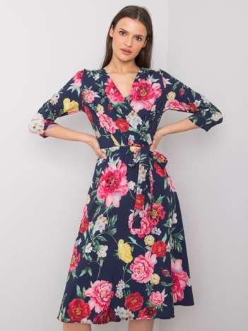 Granatowa sukienka w kwiaty Asther