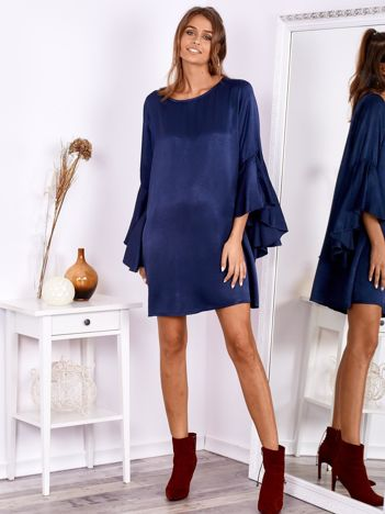Granatowa sukienka z hiszpańskimi rękawami