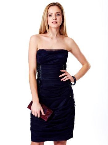 Granatowa sznurowana sukienka