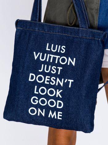 Granatowa torba dżins VUITTON JUST DOESN'T LOOK GOOD ON ME