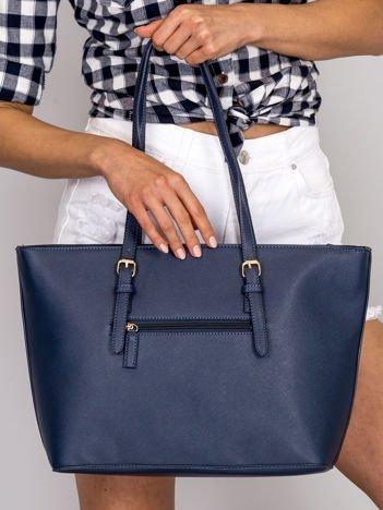 Granatowa torba shopper bag ze złotymi klamerkami