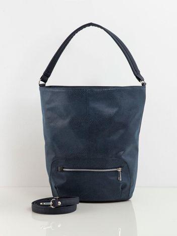 Granatowa torba shopper w zwierzęcy wzór
