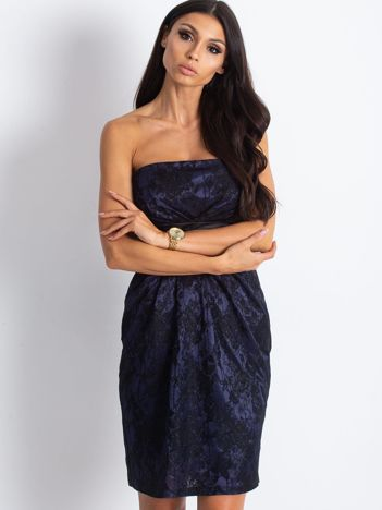 Granatowa wieczorowa sukienka z koronką i wiązaniem