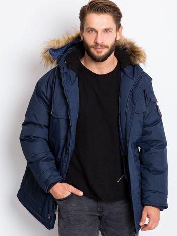 Granatowa zimowa kurtka męska