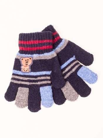 Granatowe WEŁNIANE Dziecięce Rękawiczki z MISIEM 16,5cm (5-9lat)