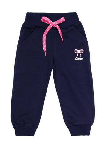 Granatowe bawełniane spodnie dresowe dziecięce z haftem