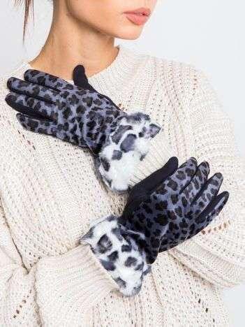 Granatowe bawełniano-zamszowe damskie rękawiczki z motywem zwierzęcym