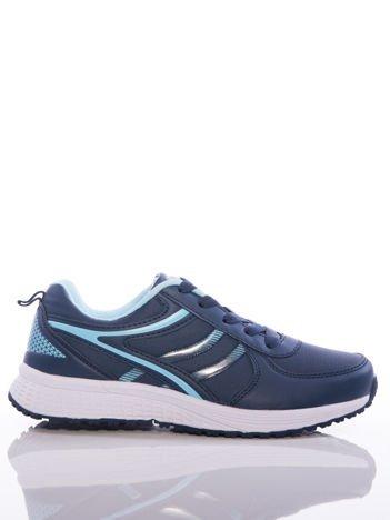 Granatowe buty sportowe na sprężystej podeszwie z jasnoniebieskim wstawkami