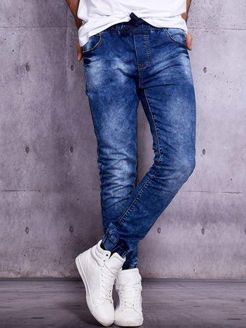 Granatowe dekatyzowane spodnie joggery męskie