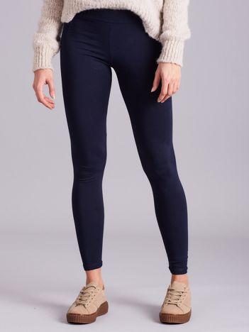 Granatowe legginsy damskie gładkie