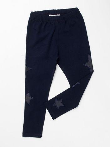 Granatowe legginsy dla dziewczynki w gwiazdki