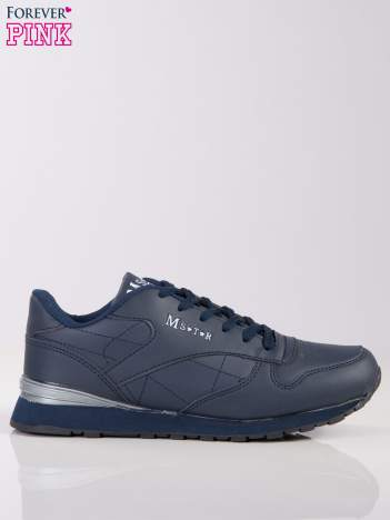 Granatowe lekkie buty sportowe faux leather Progress na piankowej podeszwie z napisem z boku