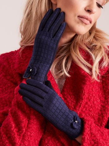 Granatowe rękawiczki w kratkę