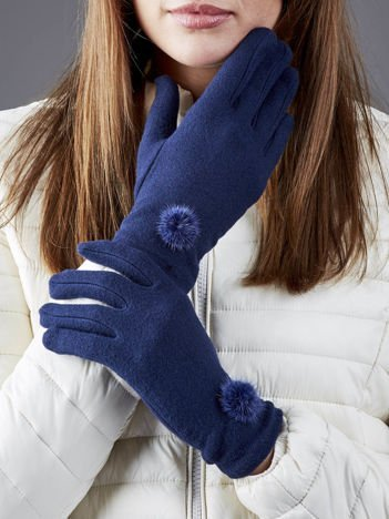 Granatowe rękawiczki z pomponikami