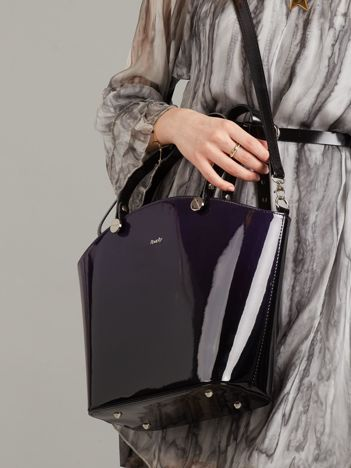 Granatowo-czarna lakierowana torba damska