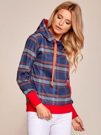 Granatowo-czerwona bluza w kratkę z kapturem