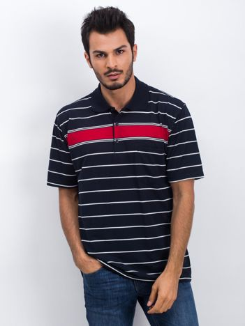 Granatowo-czerwona koszulka polo męska Around