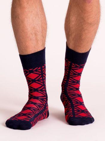 Granatowo-czerwone skarpety męskie we wzory