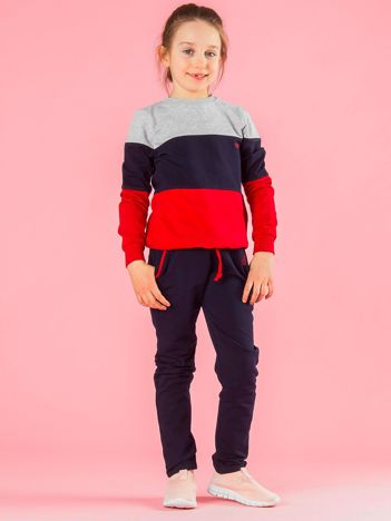 Granatowo-czerwony komplet dziecięcy