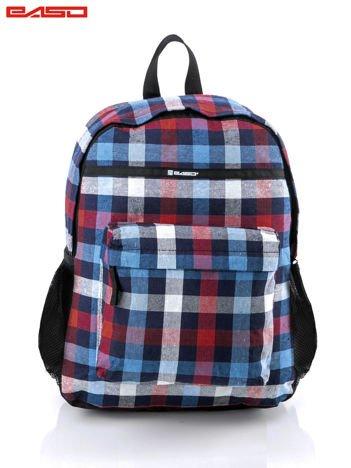 Granatowo-czerwony plecak w kratkę