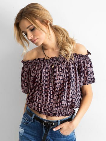 Granatowo-fioletowa bluzka hiszpanka w geometryczny wzór