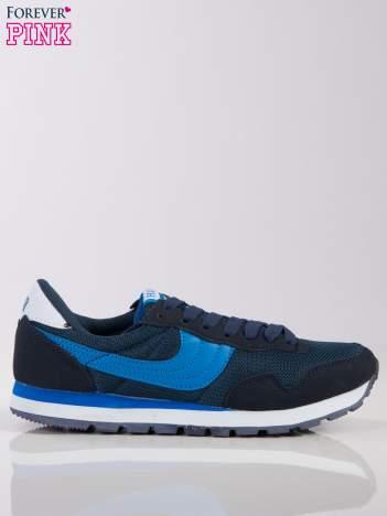 Granatowo-niebieskie buty sportowe na piankowej podeszwie