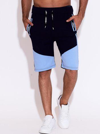 Granatowo-niebieskie szorty męskie sportowe z kieszeniami i troczkiem