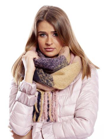 Granatowo-różowy szalik w kratę z frędzlami
