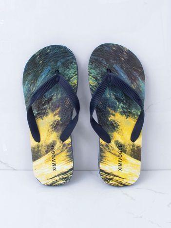 Granatowo-żółte klapki męskie
