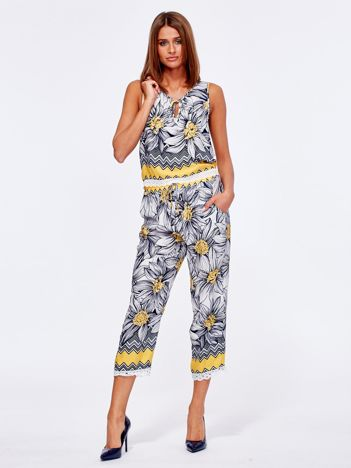 Granatowo-żółty wzorzysty komplet top i spodnie