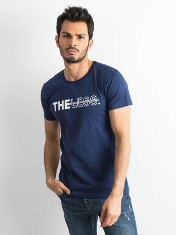 Granatowy bawełniany t-shirt męski z nadrukiem