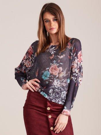 Granatowy cienki sweter w kwiaty