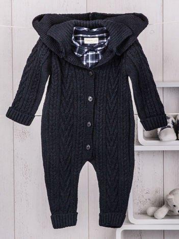 Granatowy ciepły 2-częściowy komplet niemowlęcy z miękkiej dzianiny bodziak koszulowy i pajacyk z kapturem