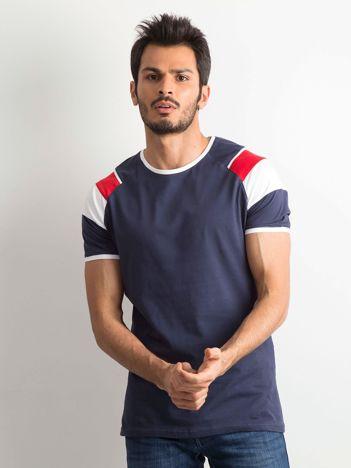 Granatowy męski bawełniany t-shirt