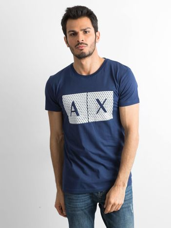 Granatowy męski t-shirt z nadrukiem