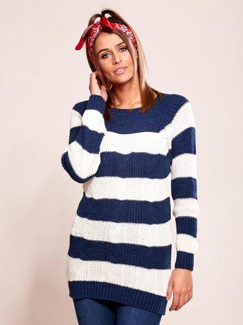 Granatowy sweter damski w paski
