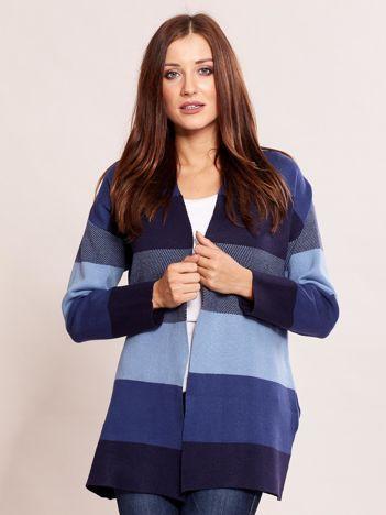 Granatowy sweter damski w pasy
