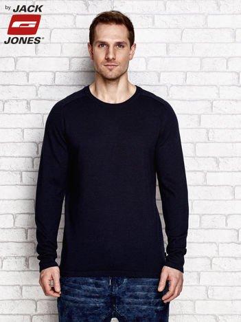 Granatowy sweter męski typu round-neck