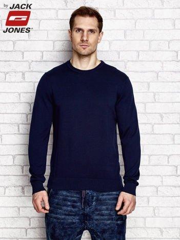 Granatowy sweter męski z szerokimi ściągaczami