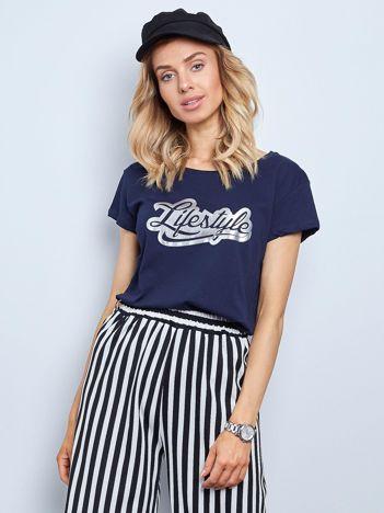 Granatowy t-shirt Lifestyle