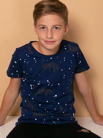Granatowy t-shirt dla chłopca w tygrysy