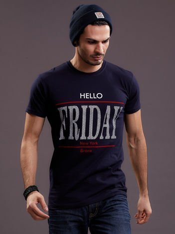 Granatowy t-shirt męski HELLO FRIDAY